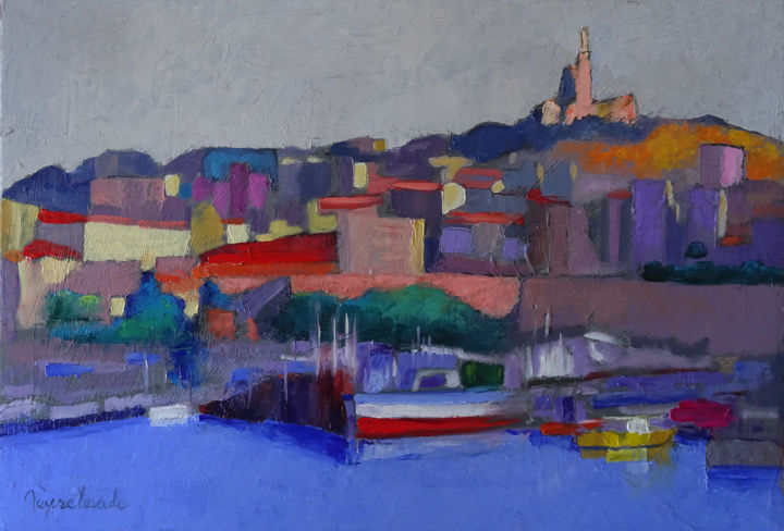 Quartier Saint Victor - Peinture,  15x21,7x2 in, ©2018 par Jacques Peyrelevade -                                                                                                                                                                                                                                                                                                                                                                                                                                                                                                                                                                                          Expressionism, expressionism-591, Architecture, Marine, artwork_cat.Cityscape, artwork_cat.Cities, marseille, saint victor, quartier, basilique, abbaye, vieux port