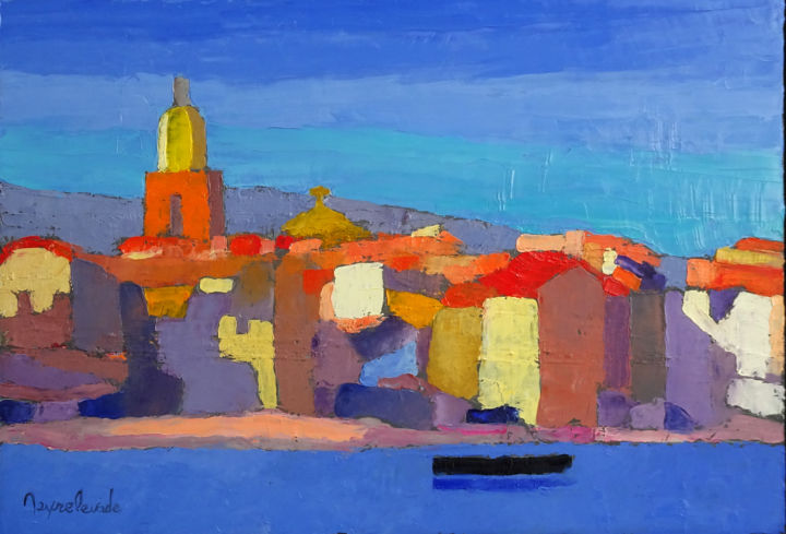 saint-tropez.jpg - Painting,  38x55 cm ©2018 by Jacques Peyrelevade -                                                                                    Abstract Expressionism, Contemporary painting, Canvas, Seascape, Cities, saint tropez, brigitte bardot, cote d'azur, port