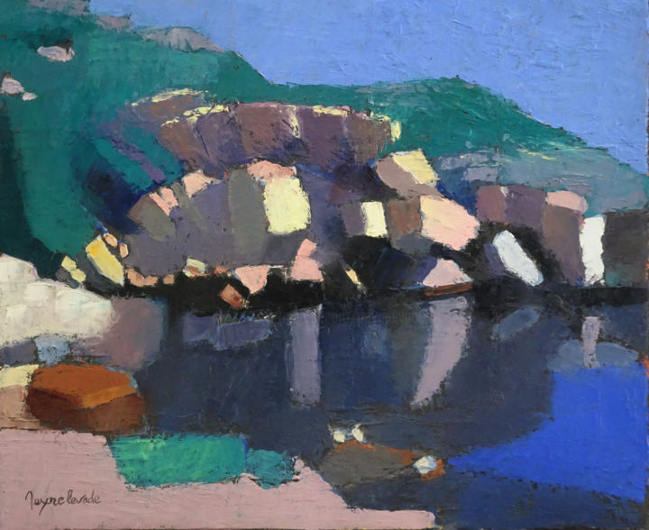 La Calanque des Queyrons - Painting,  15x18.1 in, ©2020 by Jacques Peyrelevade -                                                                                                                                                                          Expressionism, expressionism-591, Seascape