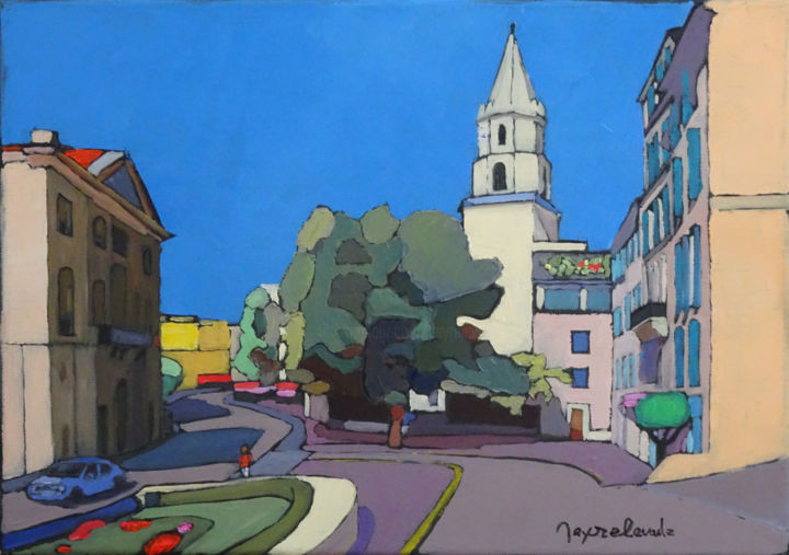 Rue Caisserie - Painting,  13x18.1x0.8 in, ©2020 by Jacques Peyrelevade -                                                                                                                                                                                                                                                                                                                                                                                                                                                                                                                                              Expressionism, expressionism-591, Architecture, Performing Arts, Cityscape, Accoules, rue caisserie, marseille, mairie, panier, eglise