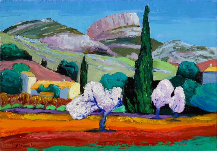 Garlaban - Peinture,  15x21,7 in, ©2014 par Jacques Peyrelevade -                                                                                                                                                                                                                                                                                                                                                                                                                                                                                                  Expressionism, expressionism-591, Paysage, Nature, Marseille, Aubagne, Garlaban, Provence, Giono, Pagnol
