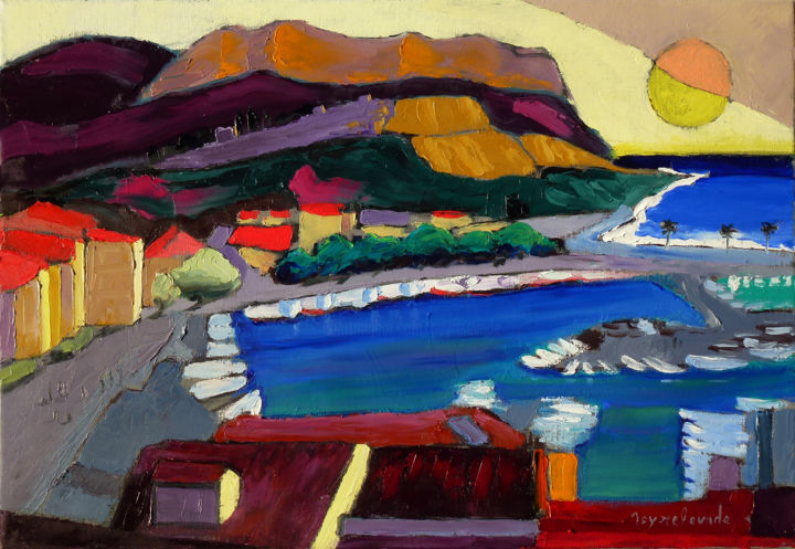 Toits à Cassis - Painting,  38x55 cm ©2015 by Jacques Peyrelevade -                                                                        Expressionism, Contemporary painting, Canvas, Seascape, Cassis, Marseille, port, cap canaille, Ambrogiani