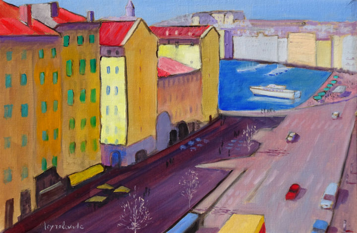 Marseille cours Jean Ballard - Painting,  38x55 cm ©2016 by Jacques Peyrelevade -                                                                                    Expressionism, Canvas, Performing Arts, Boat, Cityscape, cours, jean, ballard, marseille, vieux port
