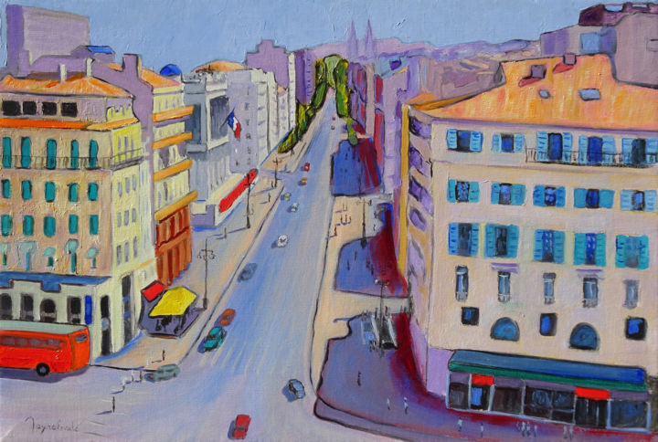 Canebière - Painting,  15x21.7 in, ©2016 by Jacques Peyrelevade -                                                                                                                                                                                                                                                                                                                                                                                                          Expressionism, expressionism-591, Architecture, artwork_cat.Performing Arts, artwork_cat.Cityscape, marseille, canebière, grand roue