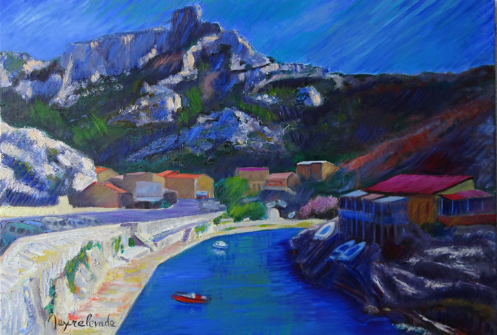 Callelongue - Painting,  15x21.7 in, ©2016 by Jacques Peyrelevade -                                                                                                                                                                                                                                                                                                                                                                                                                                                                                                                                                                                          Expressionism, expressionism-591, Boat, Seascape, Cityscape, village, calanque, pêcheur, callelongue, marseille, mediterranee, pointu