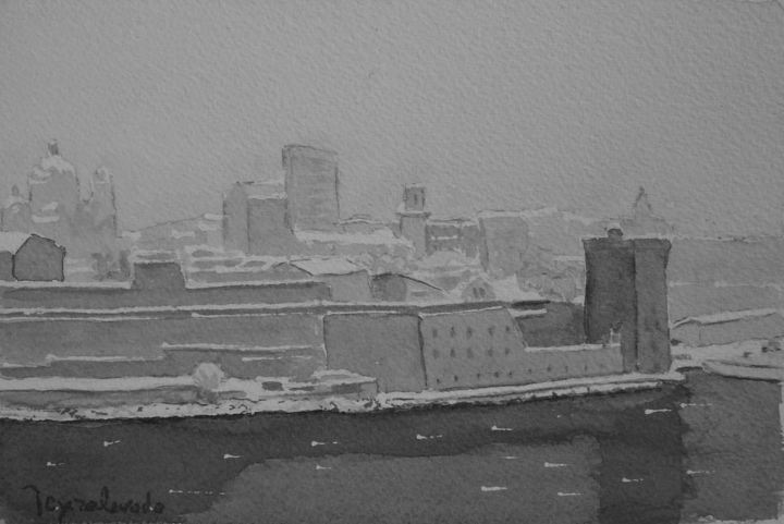 Neige sur le fort Saint Jean - Drawing,  12x19 cm ©2017 by Jacques Peyrelevade -                                                                                                Expressionism, Paper, Architecture, Black and White, Seascape, Cityscape, marseille, fort, saint jean, vieux port, mucem, encre, chine, marine, neige