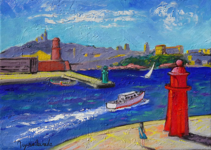Les balises - Painting,  13x18.1 in, ©2017 by Jacques Peyrelevade -                                                                                                                                                                                                                                                                                                                                                                                                                                                                                                                                                                                                                                                                                                                              Expressionism, expressionism-591, Architecture, Performing Arts, Boat, Sailboat, Seascape, marseille, port, fanal, balise, rouge, entrée, jetée, large
