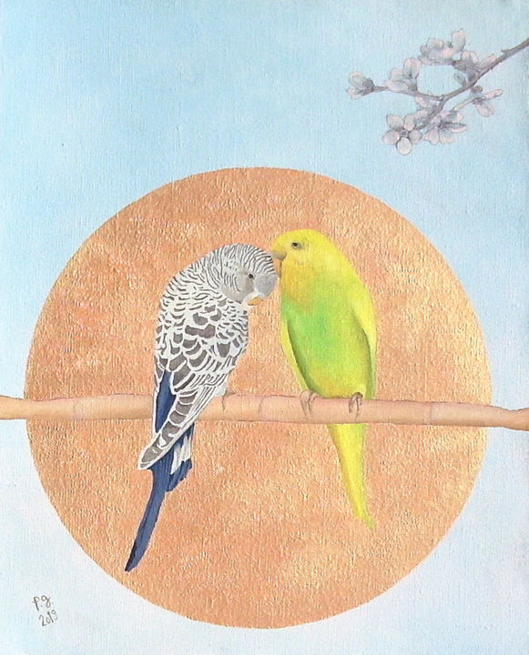 Parakeets And Almond Blossoms or The Next Spring - Peinture,  16,1x13x0,8 in, ©2019 par Patrick Gourgouillat -                                                                                                                                                                                                                                                                                                                                                                                                          Figurative, figurative-594, Animaux, Arbre, perruches, fleurs d'amandier, cercle, or