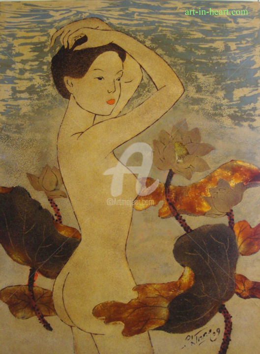 """Painting titled """"trungpc1-162"""" by Pham Chinh Trung, Original Art, Lacquer"""