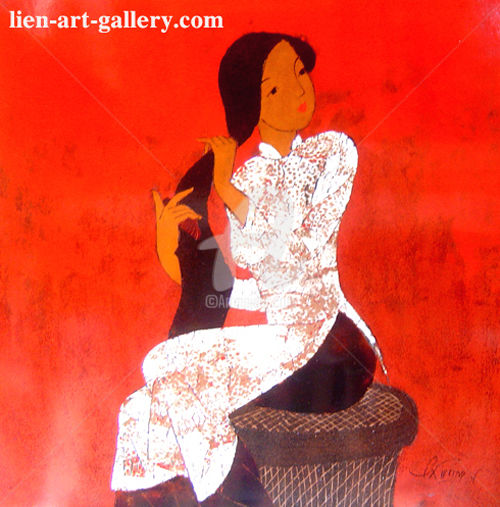 """Painting titled """"Slender beauty of V…"""" by Pham Chinh Trung, Original Art, Lacquer"""