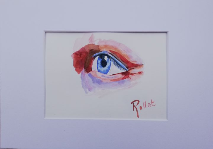 regard - Painting,  9.1x12.6x0.4 in, ©2019 by PHILIPPE ROLLET -