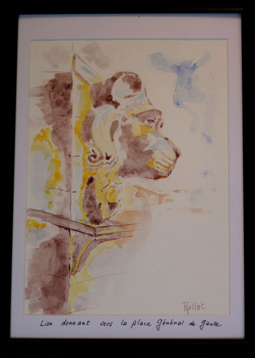 """Painting titled """"beffroi cateau camb…"""" by Philippe Rollet, Original Art, Watercolor Mounted on Stretcher frame"""