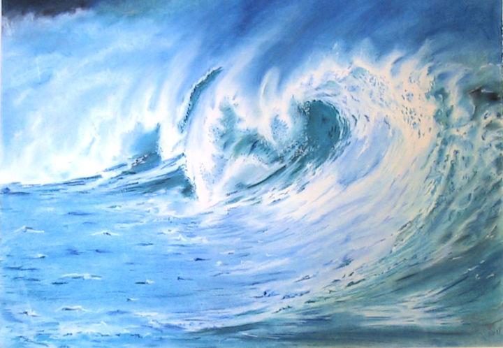 """Painting titled """"vague 1"""" by Philippe Rollet, Original Art, Pastel"""