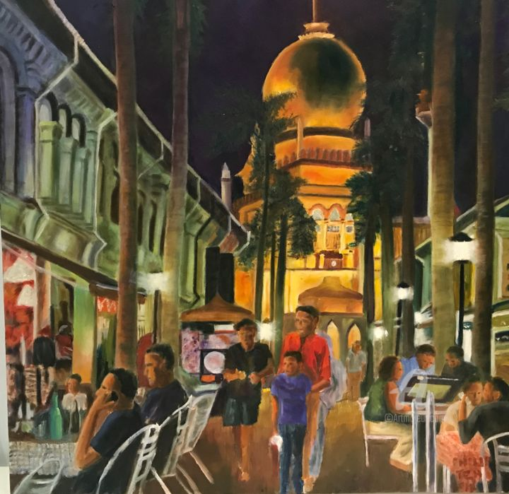 """Painting titled """"Kampong Glam Al Fre…"""" by Philip Teh, Original Art, Oil Mounted on Stretcher frame"""