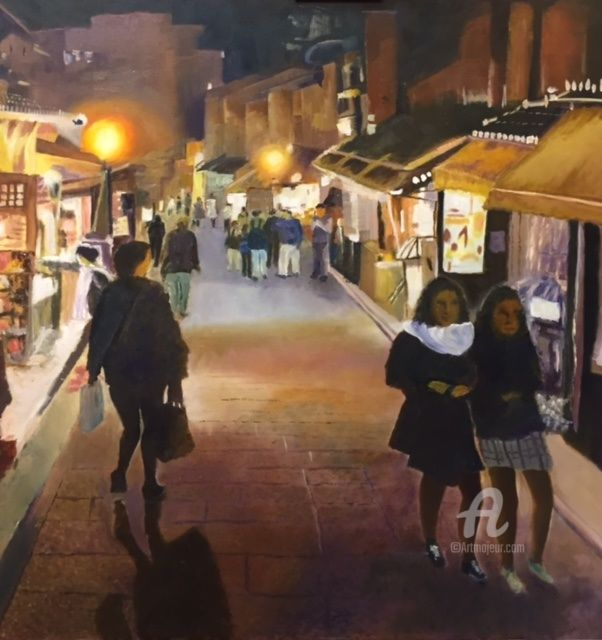 """Painting titled """"One December night…"""" by Philip Teh, Original Art, Oil Mounted on Stretcher frame"""