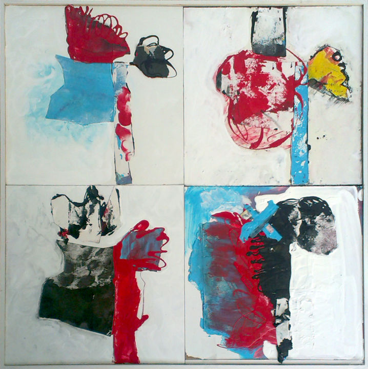 Arlequin (4 canvas) - Painting,  50x2x50 cm ©2013 by Philippe ALLIOUX -                        Contemporary painting