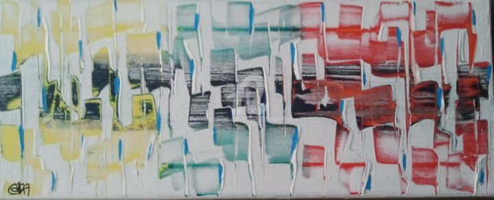 VILBREKINS - Painting,  7.9x19.7x1.2 in, ©2012 by Caradec Philippe (CARA) -                                                                                                                                                                                                                          Abstract, abstract-570, Architecture, Acrylique sur toile.couleurs mécaniques.