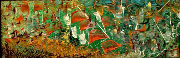 DRAKAR - Painting,  7.9x23.6x1.6 in, ©2012 by Caradec Philippe (CARA) -                                                                                                                                                                                                                                                                                                                                                                                                          Abstract, abstract-570, Abstract Art, Huile sur toile, 60 x 20.couleurs, barques, fanions, voiles.
