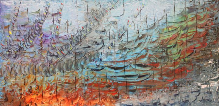 RIVAGE - Painting,  19.7x39.4x0.8 in, ©2012 by Caradec Philippe (CARA) -                                                                                                                                                                                                                                                                                                                                                                                                                                                                                                  Abstract, abstract-570, Abstract Art, Huile sur toile100 x 50, Impression, barques, vues sub ou sous marine, bateaux, mer, Caradec PHILIPPE
