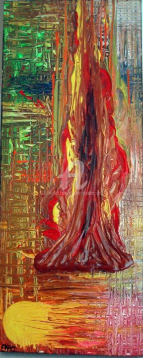 FLAME - Peinture,  19,7x7,9x1,2 in, ©2012 par Caradec Philippe (CARA) -                                                                                                                                                                                                                          Abstract, abstract-570, Lumière, Acrylique sur toile: 50 x 20: impression flamme ardente.