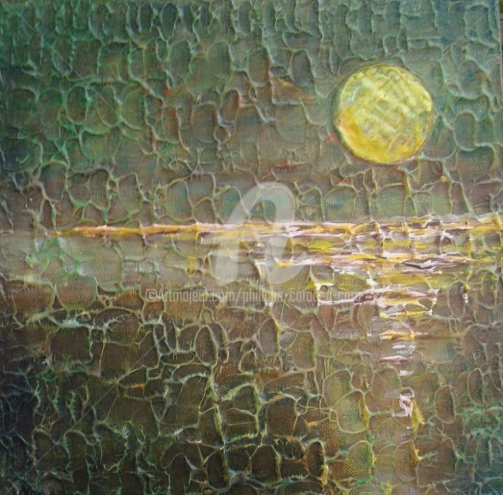 SOLAIRE - Painting,  11.8x11.8x1.2 in, ©2012 by Caradec Philippe (CARA) -                                                                                                                                                                          Abstract, abstract-570, Acrylique sur toile