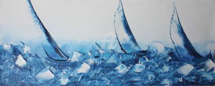 REGATES BLEUES - Painting,  7.9x19.7x1.6 in, ©2015 by Caradec Philippe (CARA) -                                                                                                                                                                                                                                                                                                                                                                                                          Abstract, abstract-570, Boat, voile, bateaux, mer, bleu, vagues