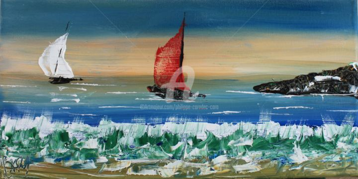 """""""VOILE ROUGE - Painting,  7.9x15.8x0.8 in, ©2015 by Caradec Philippe (CARA) -                                                                                                                                                                                                                                                                                                                                                                                      Boat, Sailboat, Ships, Landscape, bateau, voile, mer, paysage"""