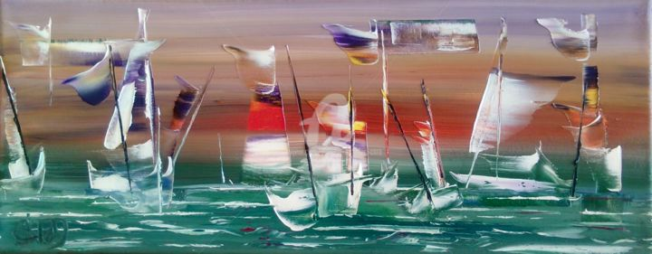 """""""MOUILLAGES"""" - Peinture,  7,9x19,7x0,8 in, ©2017 par Caradec Philippe (CARA) -                                                                                                                                                                                                                                                                                                                                                              Abstract, abstract-570, Marine, paysage marin, bateaux, mer, voiles"""