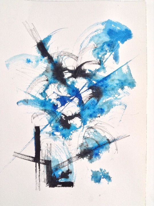 Pantin bleu - Painting ©2014 by GAURY -                                                            Abstract Art, Paper, Abstract Art, watercolor, abstraction, aquarelle