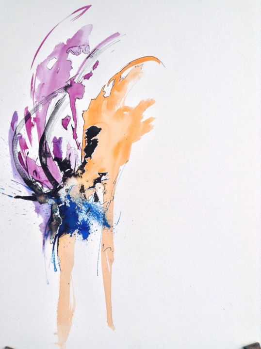 Artifices - Painting ©2014 by GAURY -                                                            Abstract Art, Paper, Abstract Art, watercolor, abstraction, aquarelle