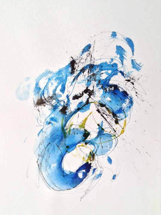 Rotation bleutée - Painting ©2014 by GAURY -                                                            Abstract Art, Paper, Abstract Art, watercolor, aquarelle, abstraction