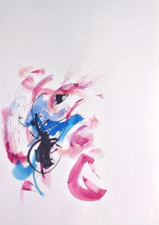 Abstraction rose - Painting ©2014 by GAURY -                                                            Abstract Art, Paper, Abstract Art, abstraction, aquarelle, watercolor