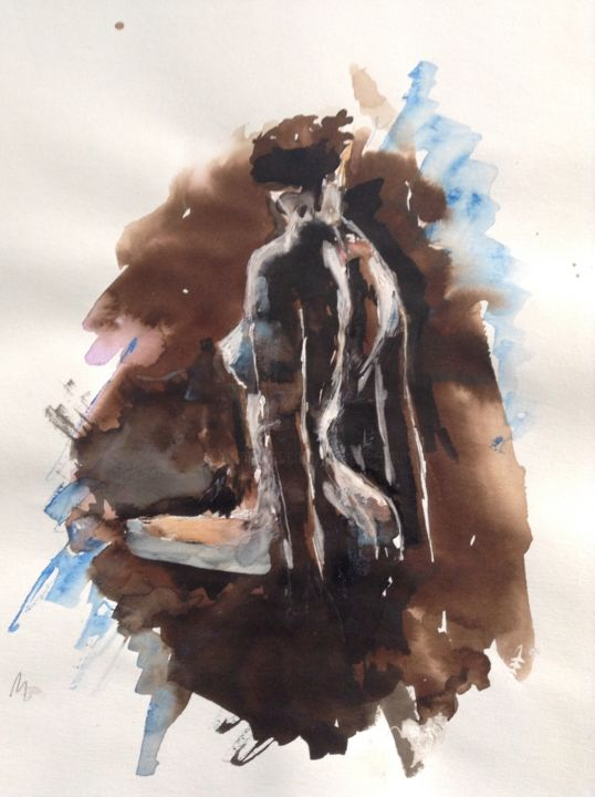 Le Dos - Painting ©2014 by GAURY -                                                            Classicism, Paper, Nude, Nu, aquarelle