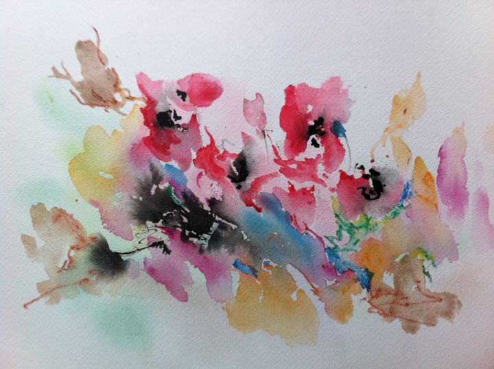 Poppies - Painting ©2014 by GAURY -                                                            Contemporary painting, Paper, Flower, Watercolor aquarelle fleurs followers