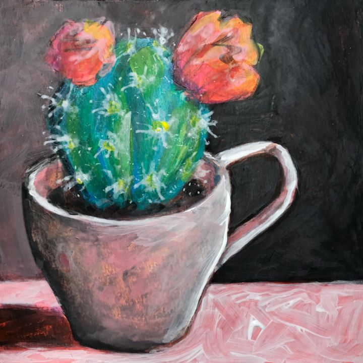Cactus 6 - Painting,  6.3x6.3 in, ©2020 by Philippe HENRIQUES -