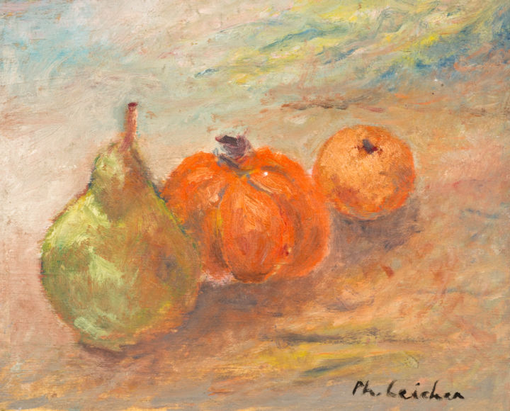 Petite nature morte aux fruits - Painting,  4.3x5.1x0.3 in, ©2019 by Philippe Leicher -                                                                                                                                                                          Figurative, figurative-594, Still life
