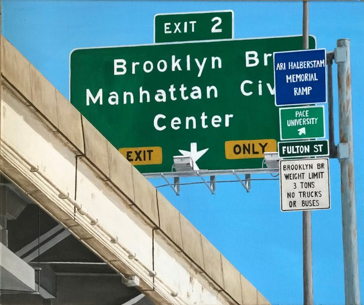 ETUDE - EXIT - Painting,  54x65x2 cm ©2017 by Philippe MANSON -                                                                                    Photorealism, Concrete Art, Contemporary painting, Canvas, Cities, NEW_YORK, PANNEAUX, BROOKLYN, HIGHWAY, PhilippeManson, manhattan