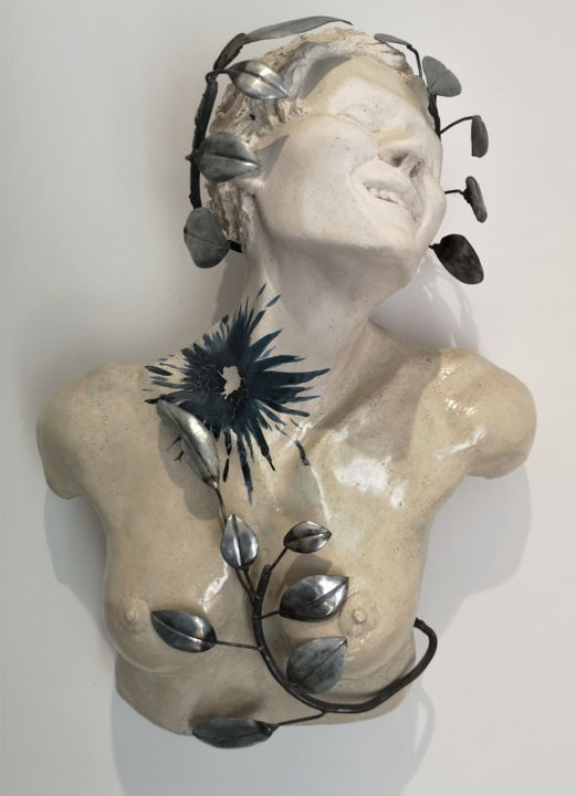 """Sculpture titled """"Le baiser bleu"""" by Philippe Rude, Original Art, Clay Mounted on Metal"""