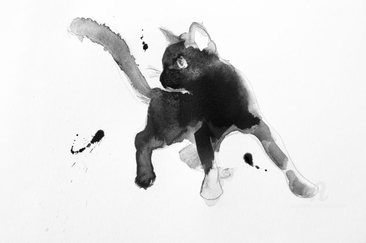Chat dynamique 0001 - Drawing,  11.8x15.8 in, ©2017 by Philippe Alliet -                                                                                                                                                                                                                                                                                                                                                                                                                                                                                                                                              Figurative, figurative-594, Animals, Cats, Philippe Alliet, Alliet Philippe, Alliet, Encre de Chine, China ink, Chats, Cats