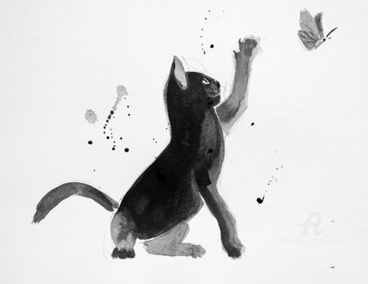 """Chat """"cute"""" - Drawing,  11.8x15.8 in, ©2017 by Philippe Alliet -"""