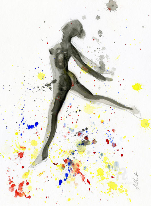 Nu dansant 008 - Drawing,  15.8x11.8x0.4 in, ©2018 by Philippe Alliet -                                                                                                                                                                                                                                                                                                                                                                                      Nude, Philippe Alliet, Danse, nude, nu, China ink, watercolor, Dance