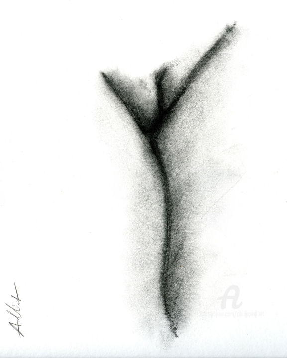 Abstrait érotique 001 - Drawing,  40x30 cm ©2019 by Philippe ALLIET -                                                            Abstract Art, Paper, Erotic, Philippe Alliet, Alliet philippe, Alliet, Drawing, Charcoal, Dessin