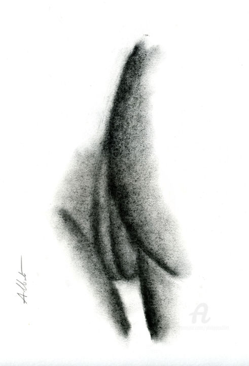 Abstraction érotique 003 - Drawing,  40x30 cm ©2019 by Philippe ALLIET -                                                            Abstract Art, Paper, Erotic, Philippe Alliet, Alliet Philippe, Alliet, Charcoal, Fusain, Drawing, Dessin