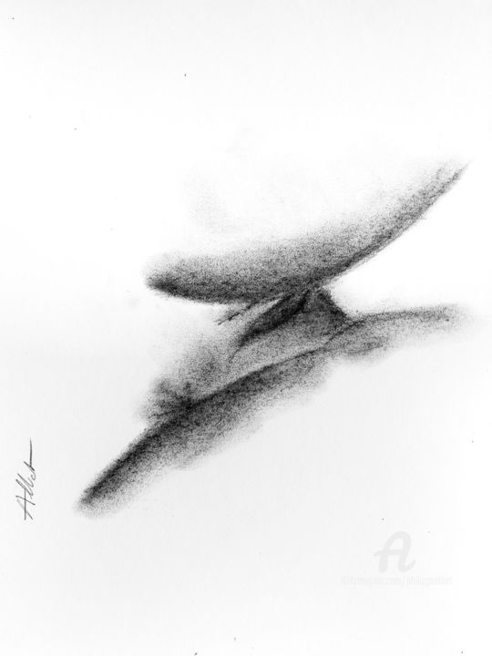 Abstraction érotique 007 - Drawing,  40x30 cm ©2019 by Philippe ALLIET -                                                            Abstract Art, Paper, Abstract Art, Philippe Alliet, Alliet philippe, Alliet, Charcoal, Fusain, Drawing, Dessin