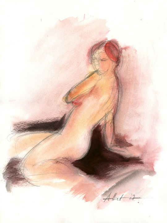 Nu rose-2007 - Painting,  40x30 cm ©2007 by Philippe ALLIET -                                                            Figurative Art, Paper, Nude, Philippe Alliet, Alliet Philippe, Alliet, Nude, Nu, Watercolor, Aquarelle, rose, pink