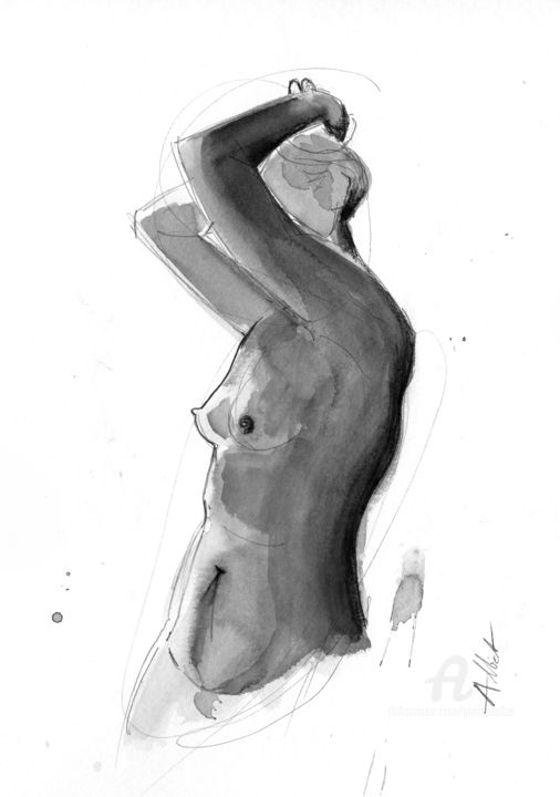ND-019 - Drawing,  15.8x11.8 in, ©2019 by Philippe Alliet -                                                                                                                                                                                                                                                                                                                                                                                                                                                                                                                                                                                                                                      Figurative, figurative-594, Nude, Philippe Alliet, Alliet Philippe, Alliet, Drawing, Dessin, China ink, Encre de Chine, Nude, Naked woman, Nu féminin