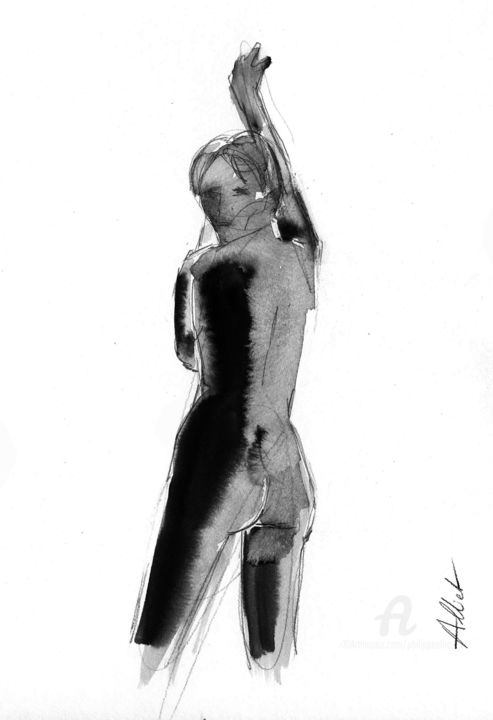 ND 0026 - Drawing,  15.8x11.8 in, ©2019 by Philippe ALLIET -                                                                                                                                                                                                                                                                                                                                                                                                                                                                                                                                                                                                                                                                                                                              Figurative, figurative-594, Nude, Nathalie, Dubois, Nathalie Dubois, Alliet, Alliet Philippe, Philippe Alliet, China ink, Encre de Chine, Drawing, Dessin, Naked woman, Nu féminin