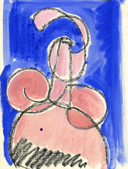 Figure rose-Sketch 002 - Drawing,  9.5x7.1 in ©2000 by Philippe ALLIET -                                            Outsider Art, Nude, Sketch, Watercolor, ALLIET, Alliet, PHILIPPE ALLIET, Philippe Alliet, ALLIET PHILIPPE, Alliet Philippe