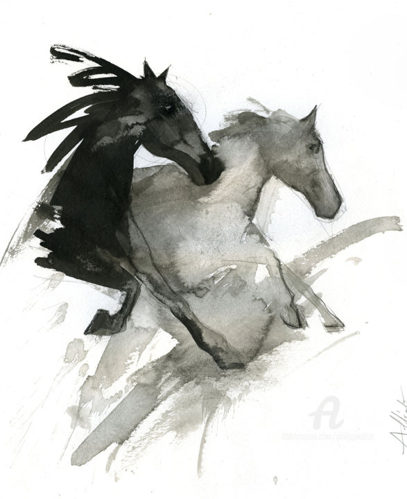 Rebel horse 032 - Drawing,  15.8x11.8 in, ©2019 by Philippe ALLIET -                                                                                                                                                                                                                                                                                                                                                                                                                                                                                                                                                                                          Figurative, figurative-594, Horses, Horse, China ink, Drawing, Philippe Alliet, Alliet Philippe, Alliet, PHILIPPE ALLIET, ALLIET PHILIPPE, ALLIET