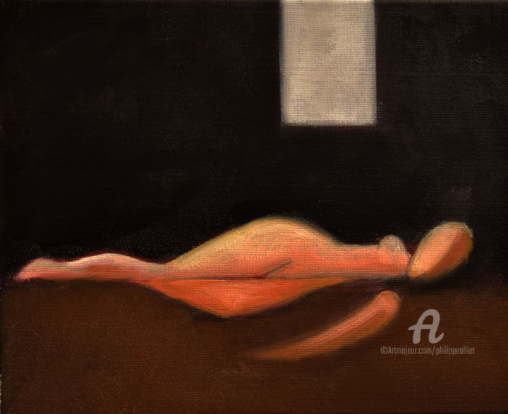 Nat  006 - Painting,  8.3x10.6x0.8 in, ©2019 by Philippe ALLIET -                                                                                                                                                                                                                                                                                                                                                                                                                                                      Figurative, figurative-594, Nude, Nude, Picasso, Alliet, Alliet Philippe, Philippe Alliet, Oil painting